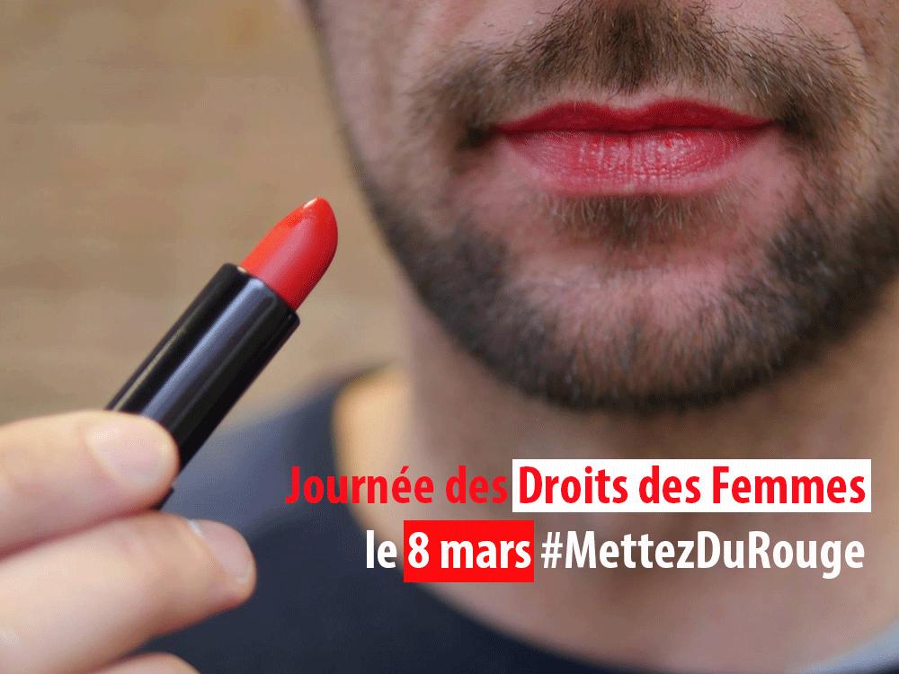 Messieurs #MettezDuRouge pour les Droits des Femmes
