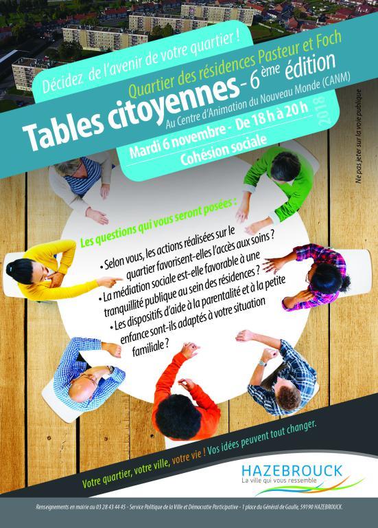 Tables citoyennes du quartier des résidences Pasteur et Foch