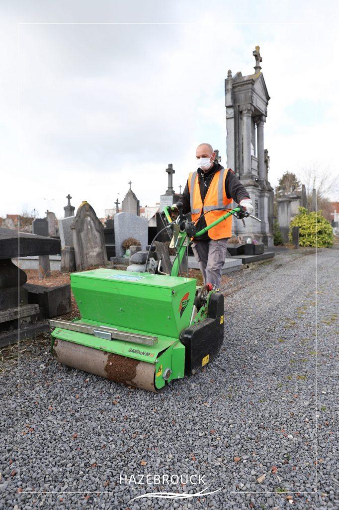 Engazonnement des allées des cimetières