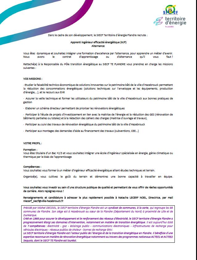 OFFRE : Apprenti ingénieur efficacité énergétique (H/F) Alternance