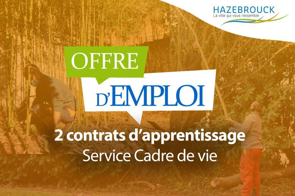 Offre d'emploi – 2 contrats d'apprentissage au service cadre de vie